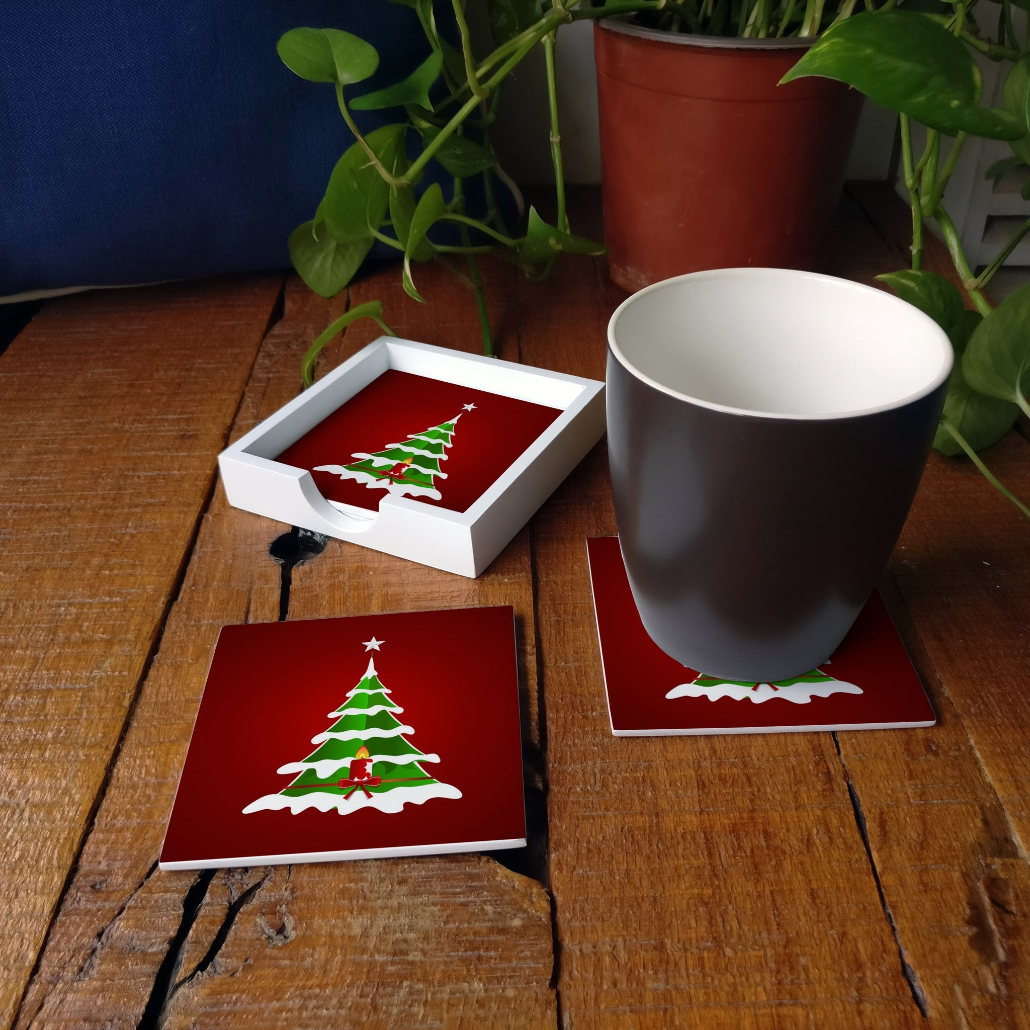 Xmas Tree Coaster Set with Box