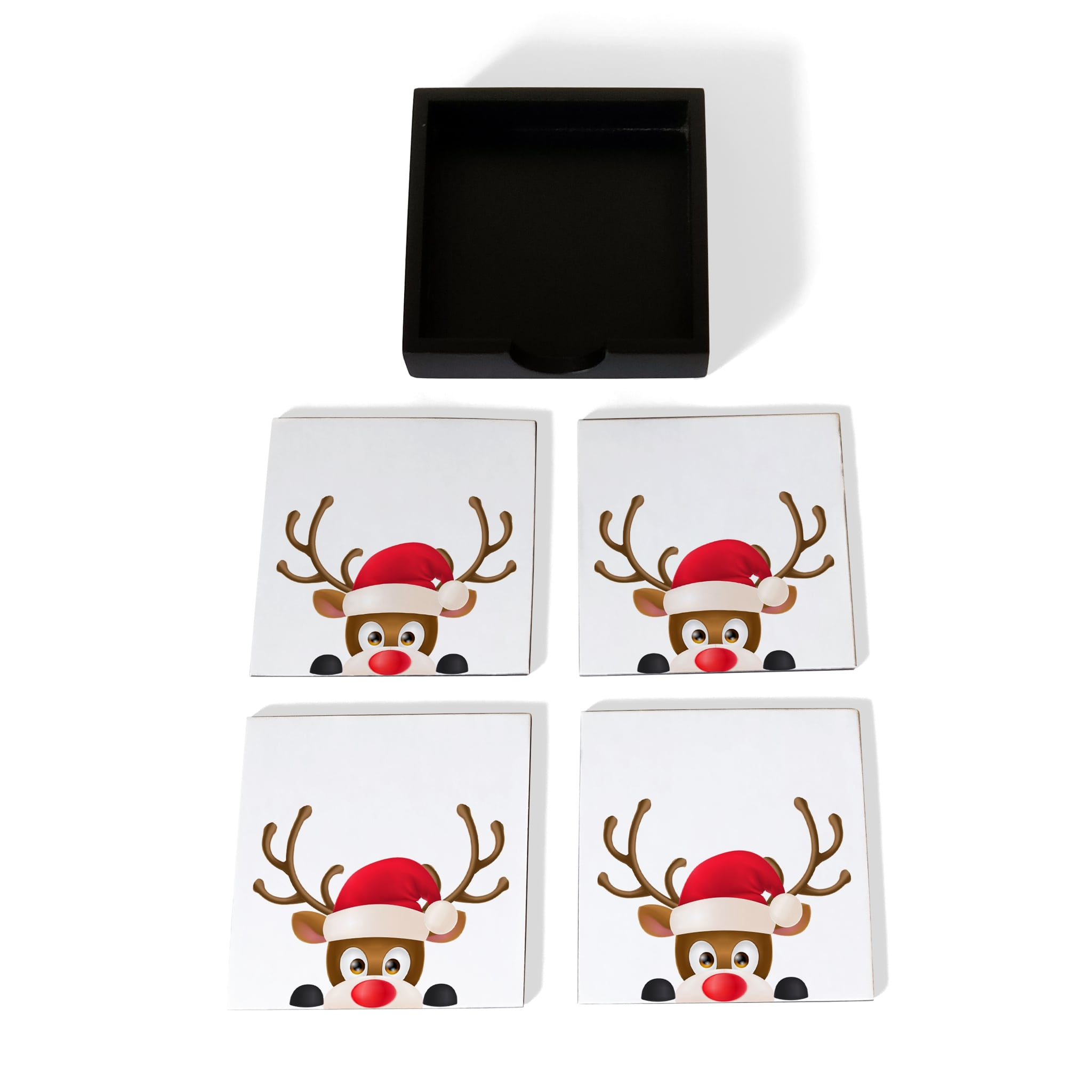 Xmas Reindeer Coaster Set with Box