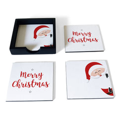 Xmas Santa Coaster Set with Box