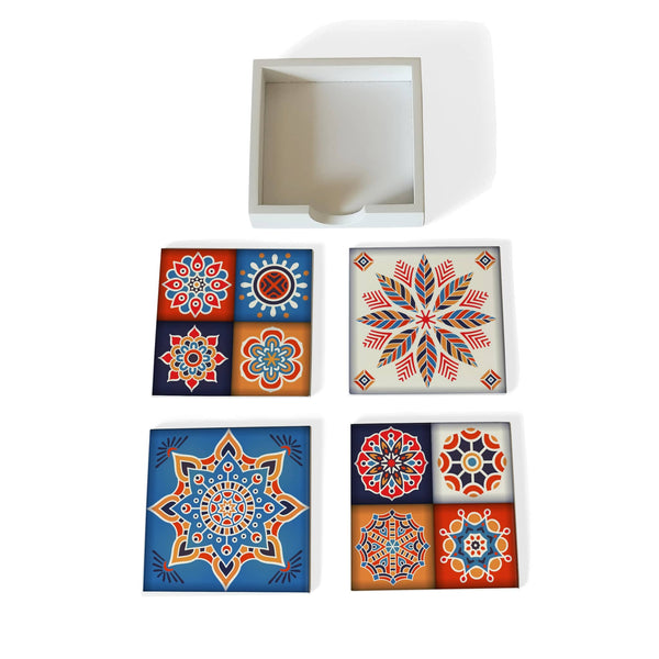 Floral Tiles Coaster Set with Box