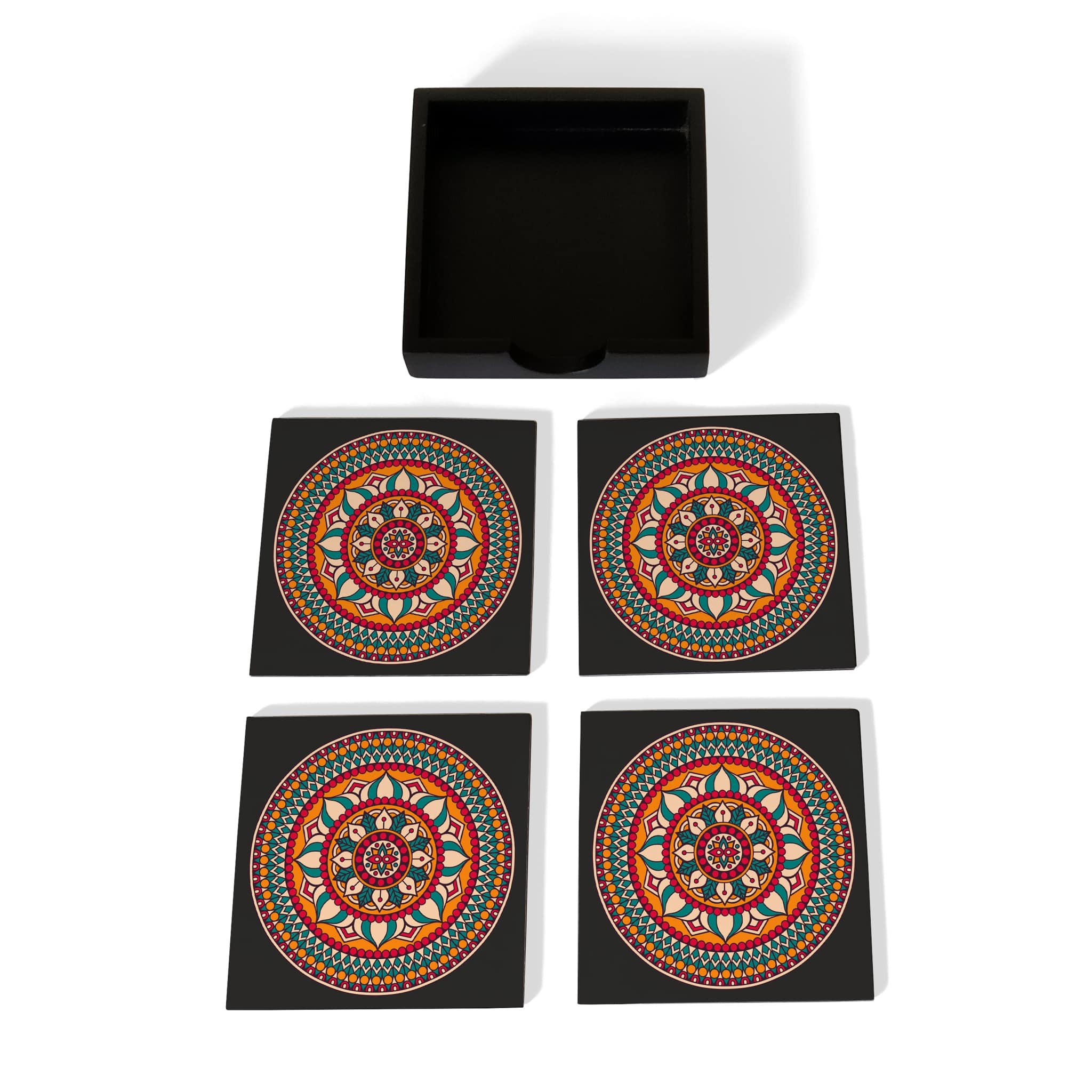 Red Mandala Coaster Set with Box