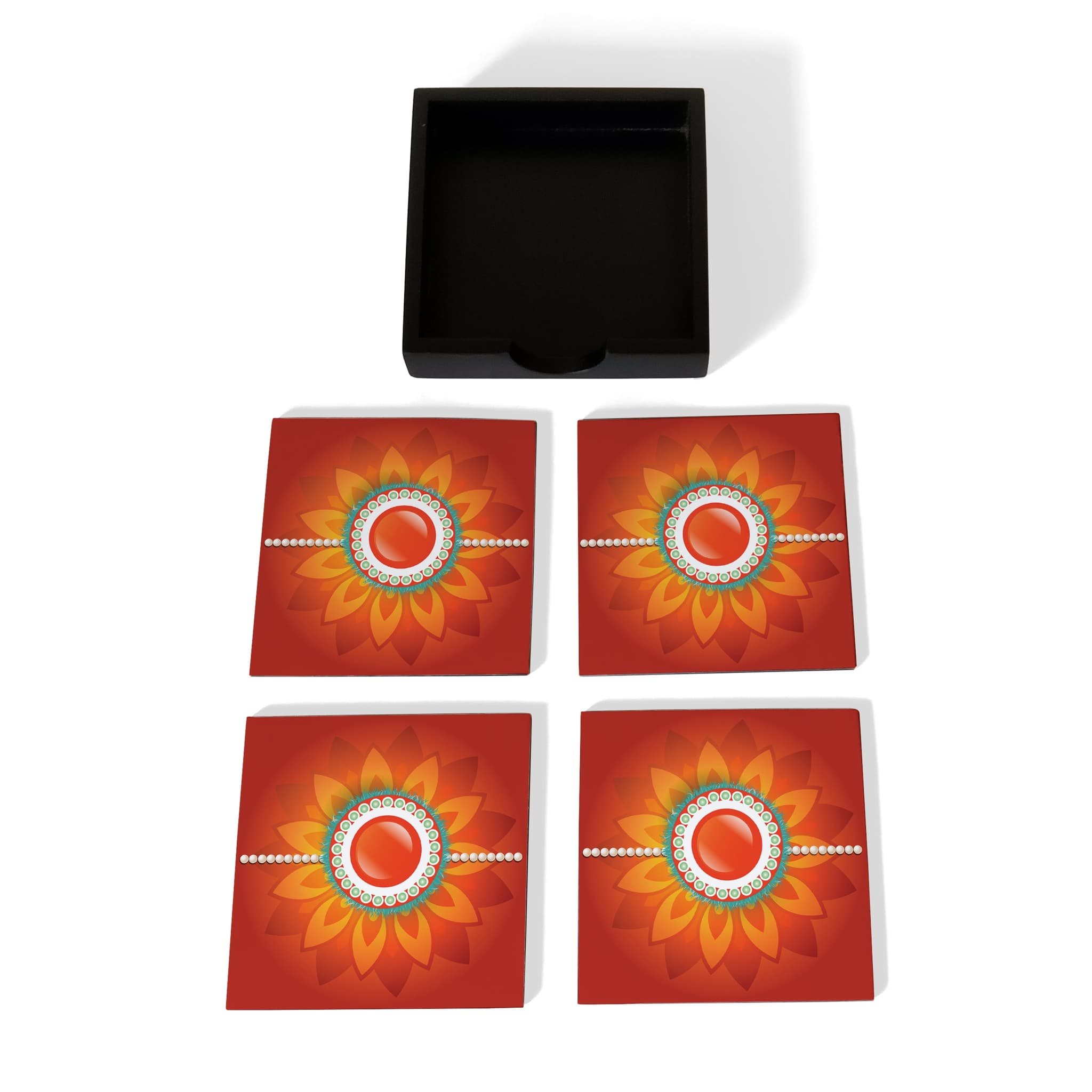 Rakhi Pearls Orange Coaster Set with Box