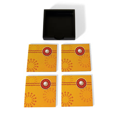 Yellow Raksha Coaster Set with Box