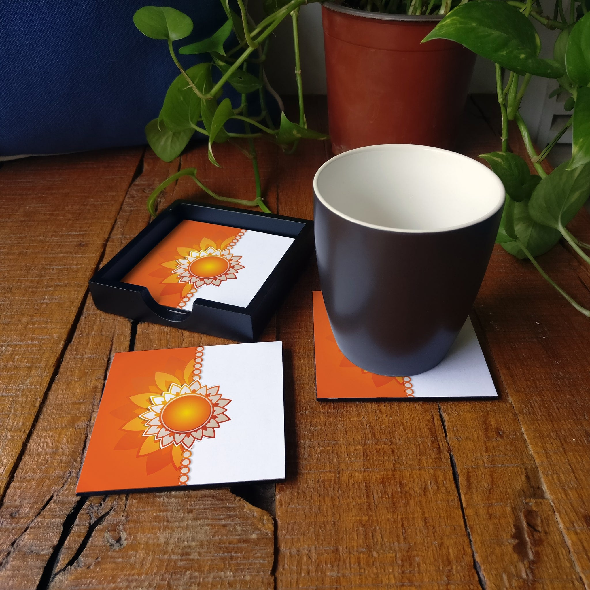 Rakhee Orange Coaster Set with Box