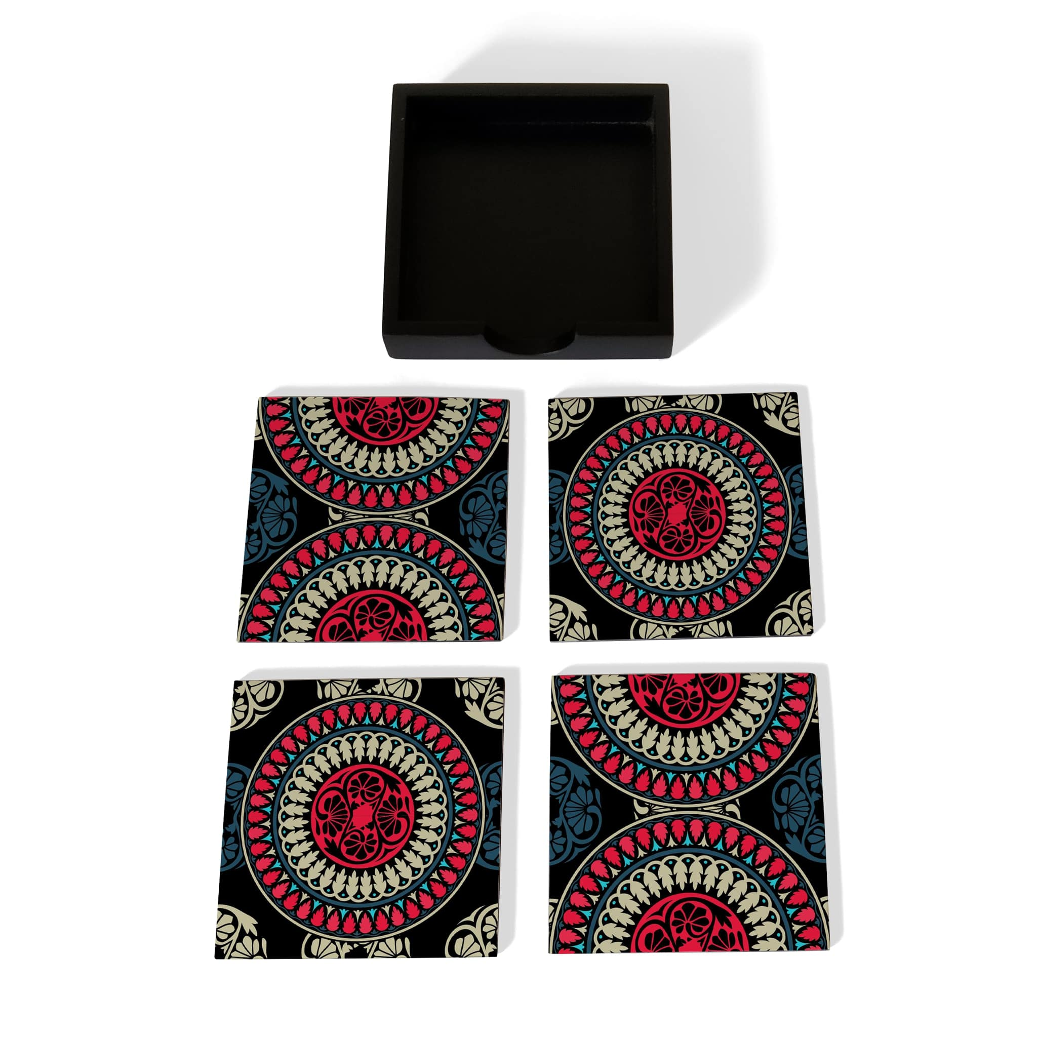 Black Mandala Coaster Set with Box