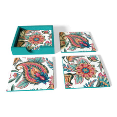 Oriental Paisley White Coaster Set with Box