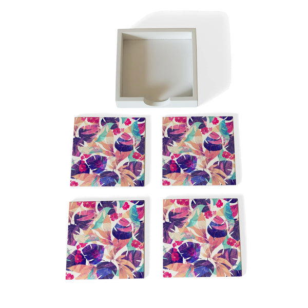 Floral Hibiscus Coaster Set with Box