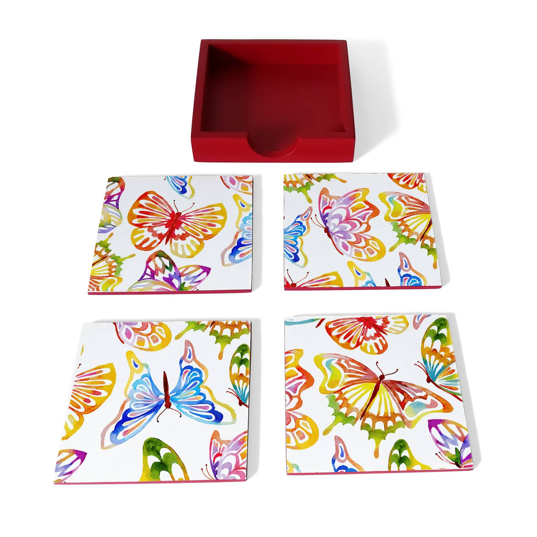 Watercolour Butterflies Coaster Set with Box