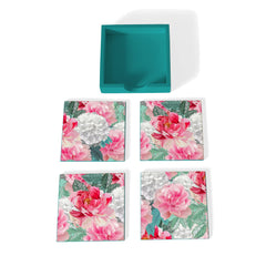 Red Chrysanthemums-T Coaster Set with Box