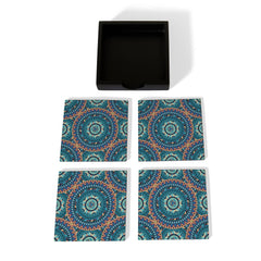 Blue Mandala Coaster Set with Box