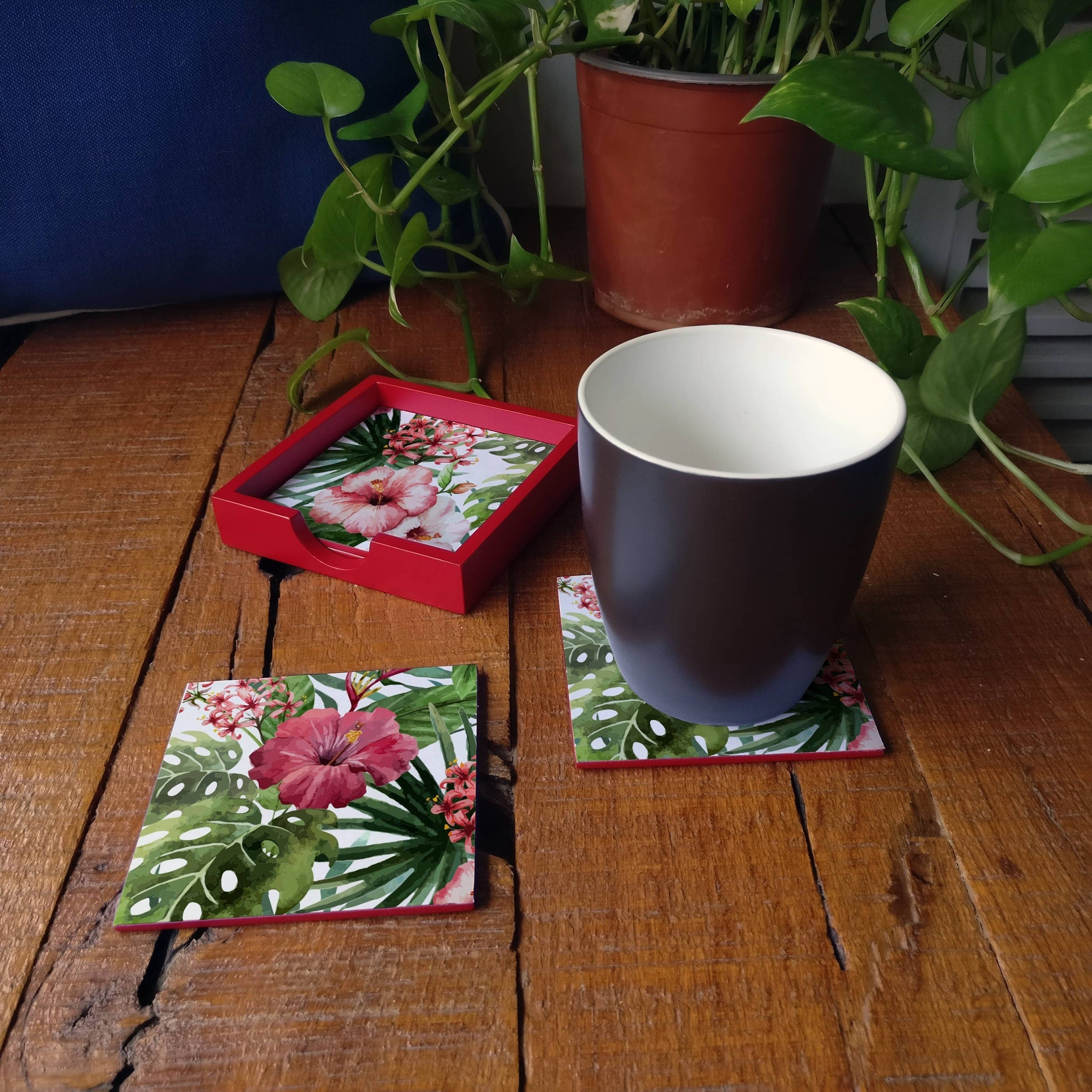 Tropical Hibiscus-R Coaster Set with Box