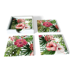 Tropical Hibiscus-W Coaster Set with Box