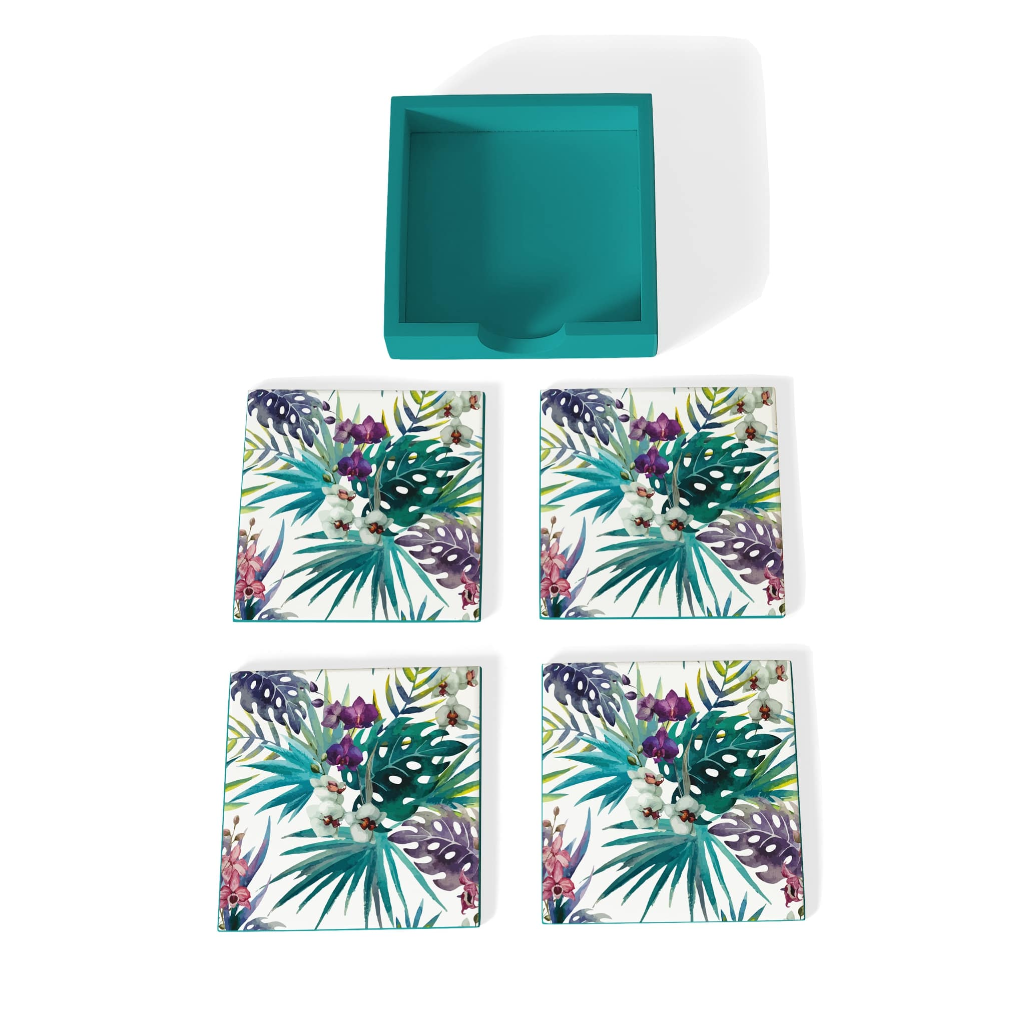 Tropical Palms Coaster Set with Box