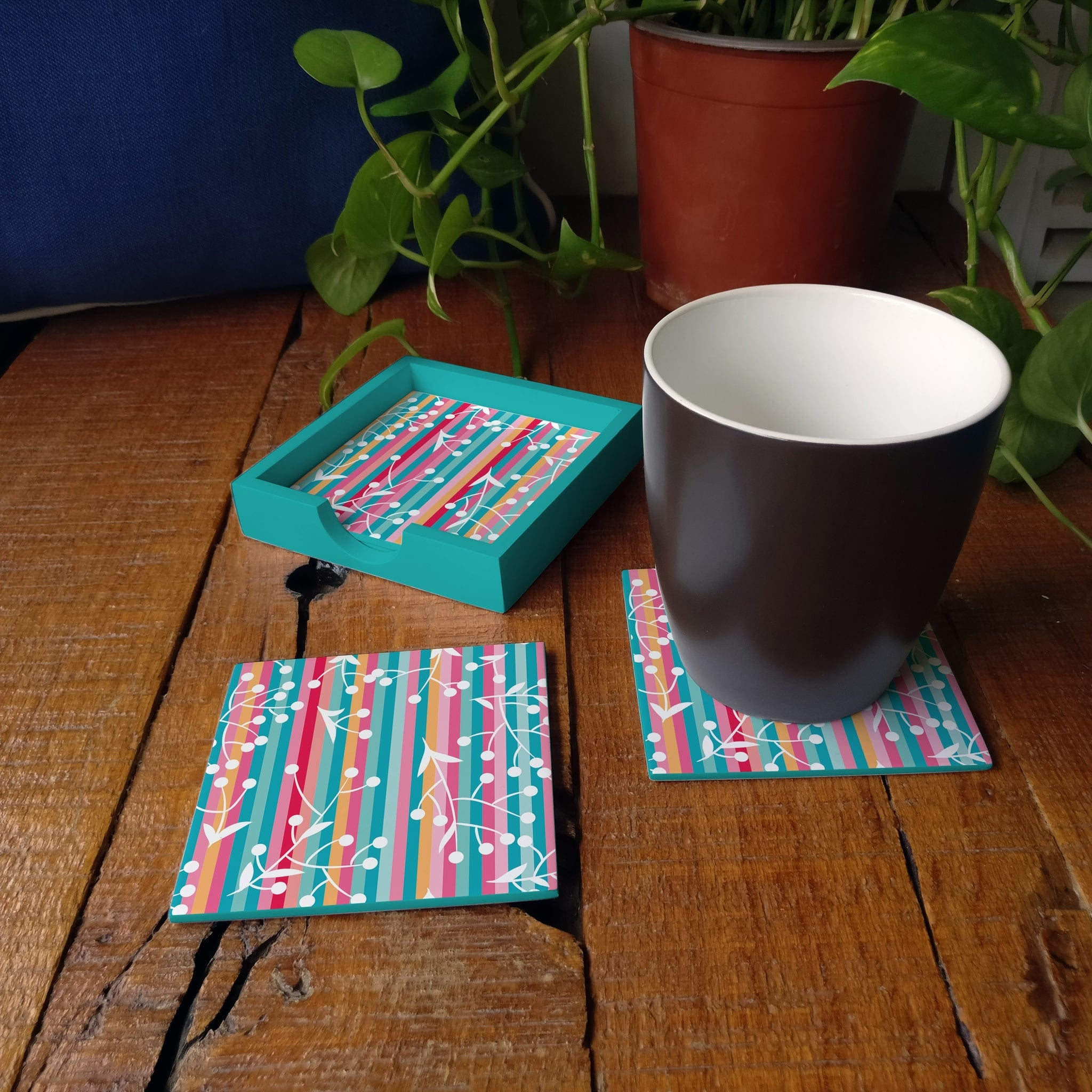 Floral Stripes-T Coaster Set with Box