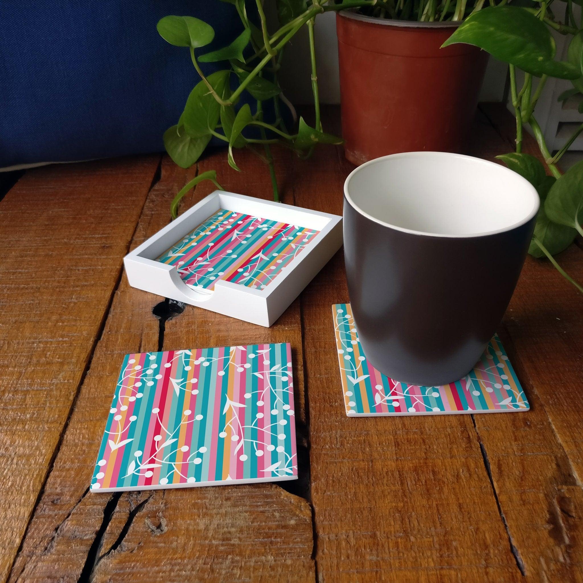 Floral Stripes-W Coaster Set with Box