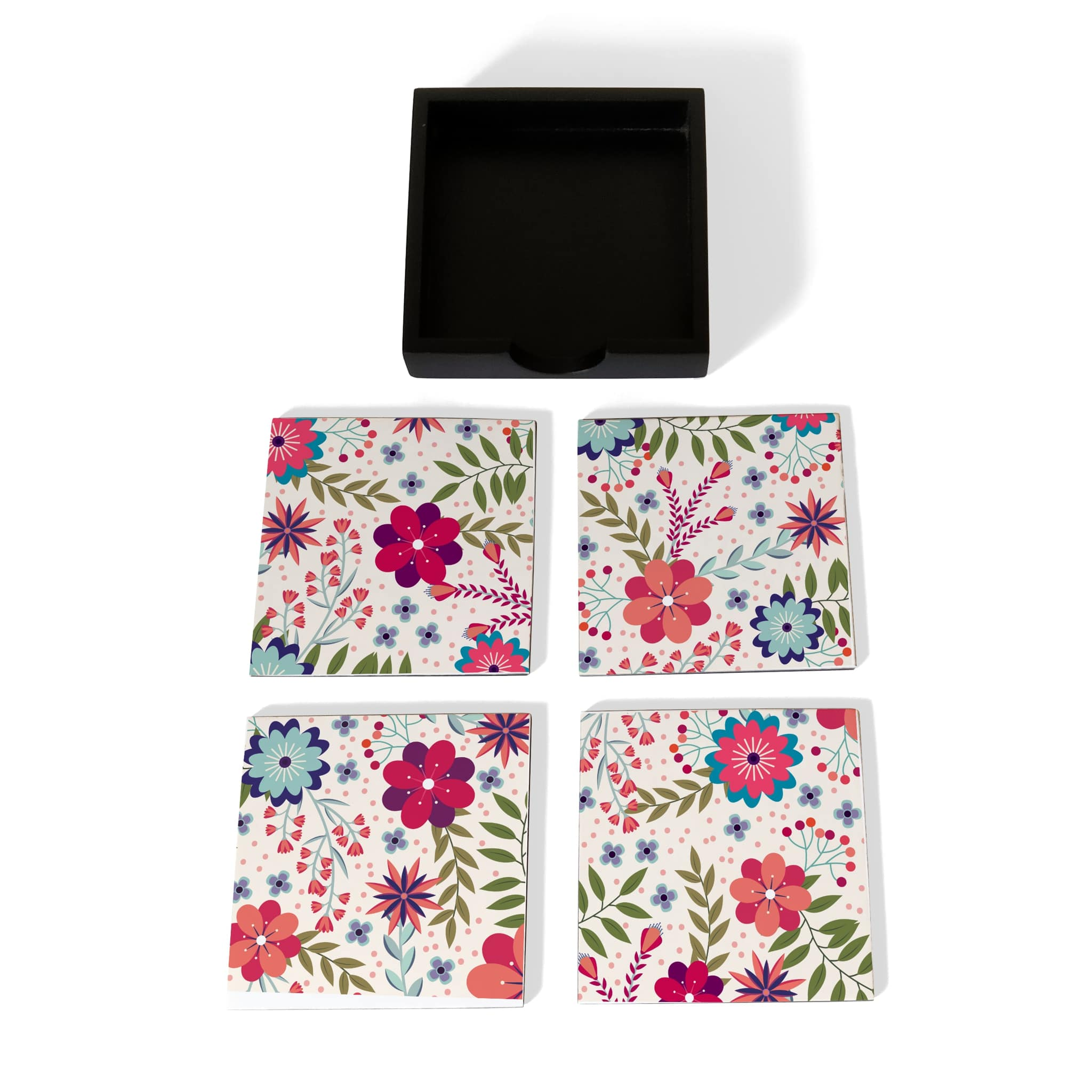 Teen Floral-B Coaster Set with Box