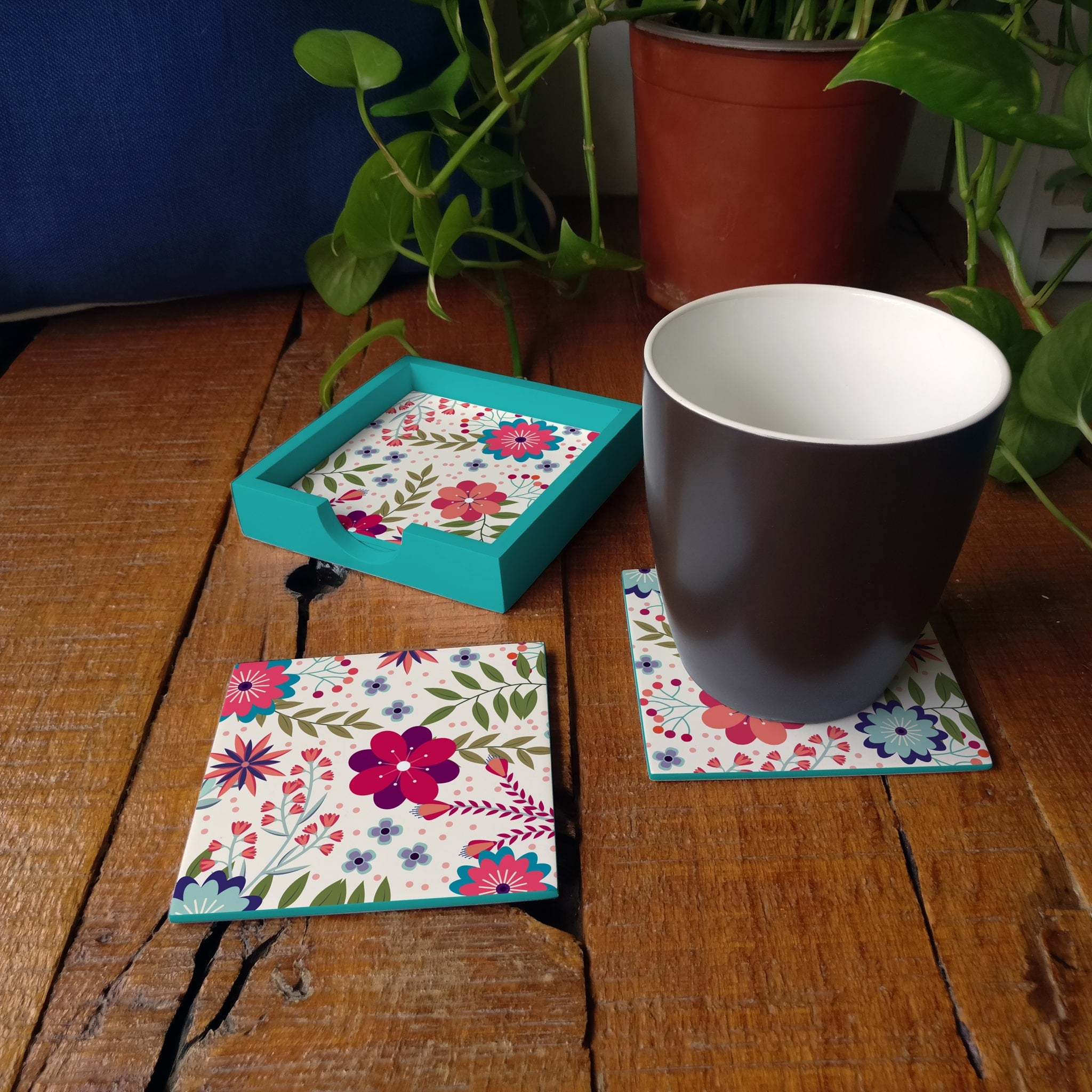 Teen Floral-T Coaster Set with Box