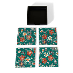 Emerald Batik Coaster Set with Box
