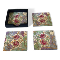 Ornate Floral Coaster Set with Box