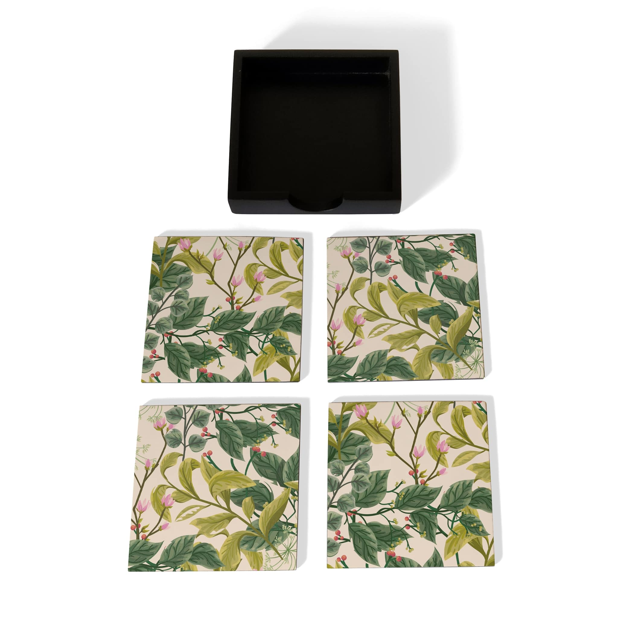 Vintage Floral Coaster Set with Box