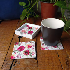 Pink Flowers Coaster Set with Box