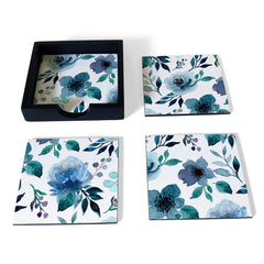 Indigo Flowers Coaster Set with Box