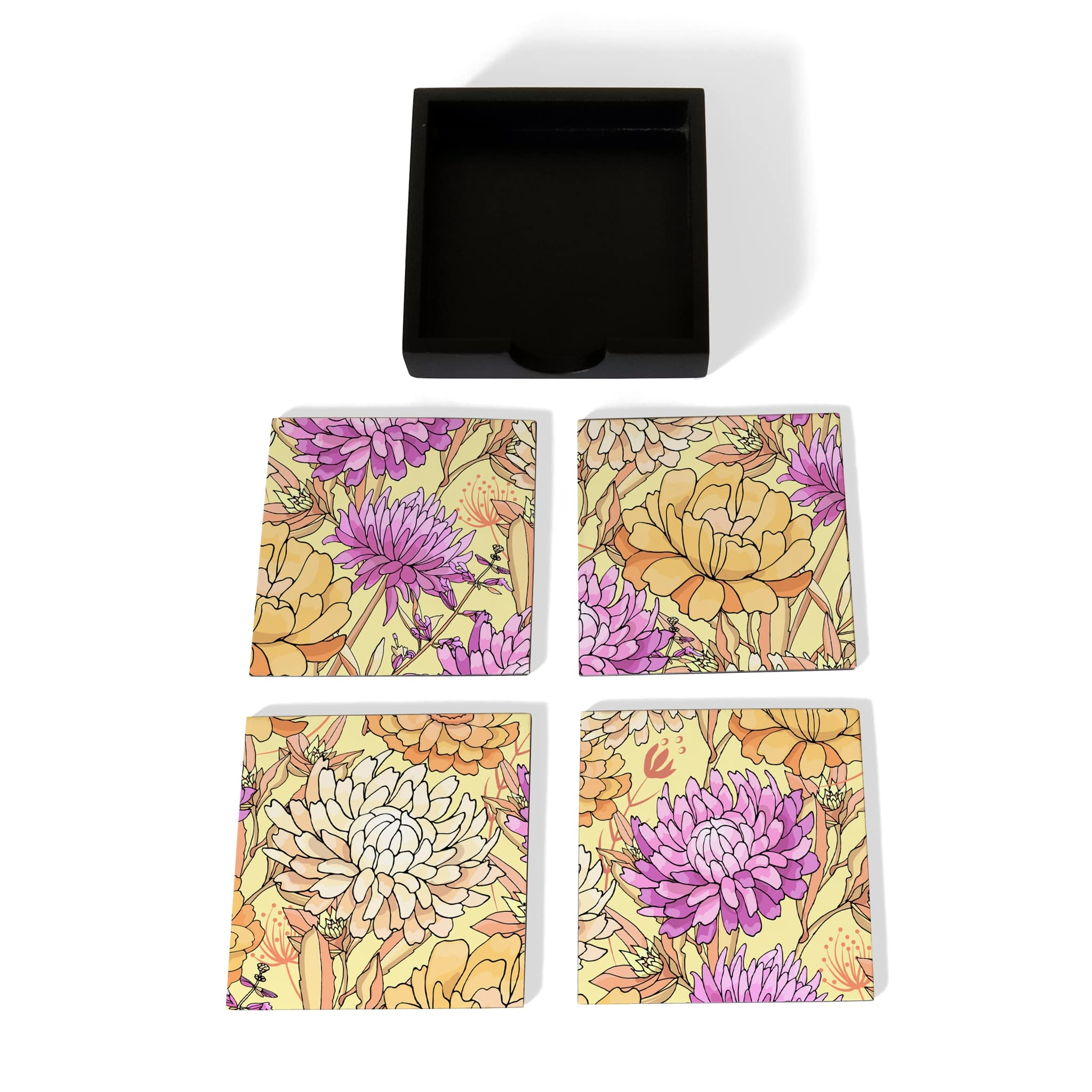 Maya Floral Coaster Set with Box