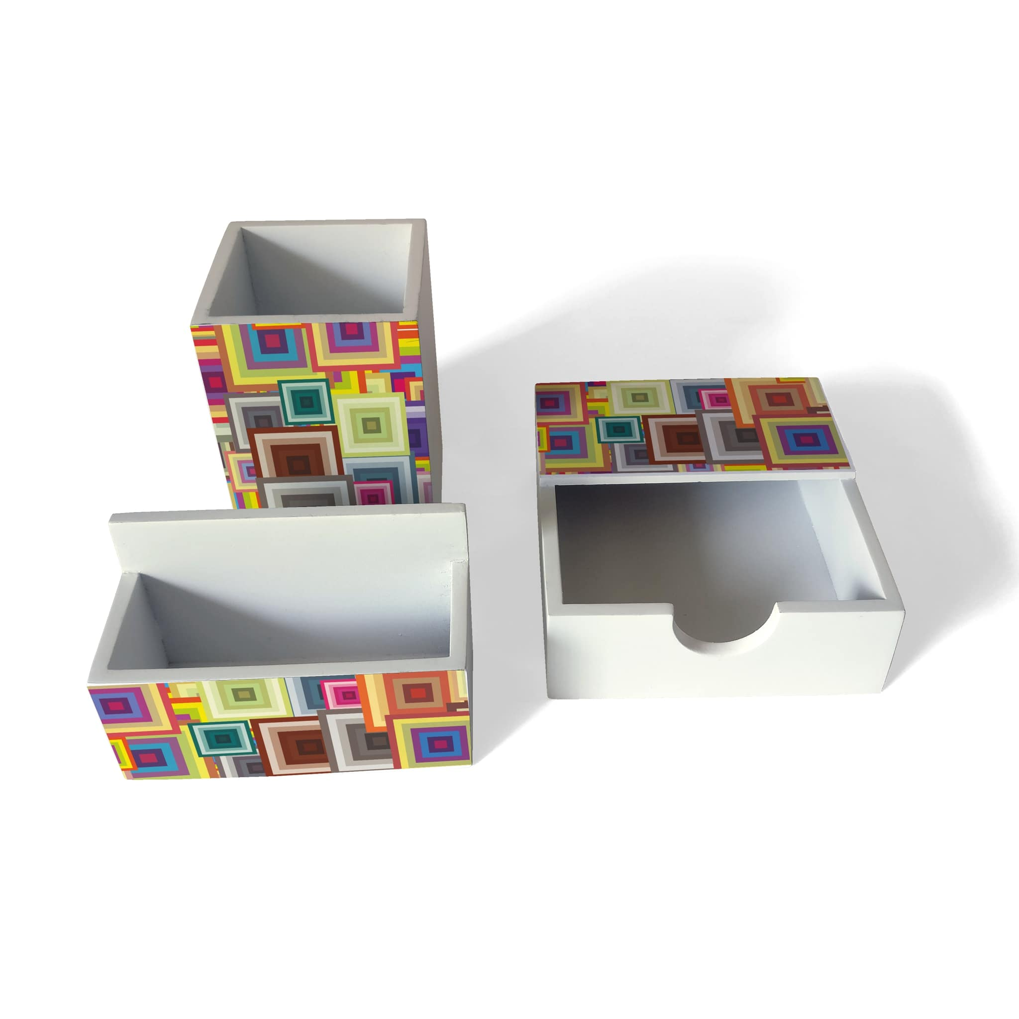Colourful Squares 3 Piece Desk Organiser