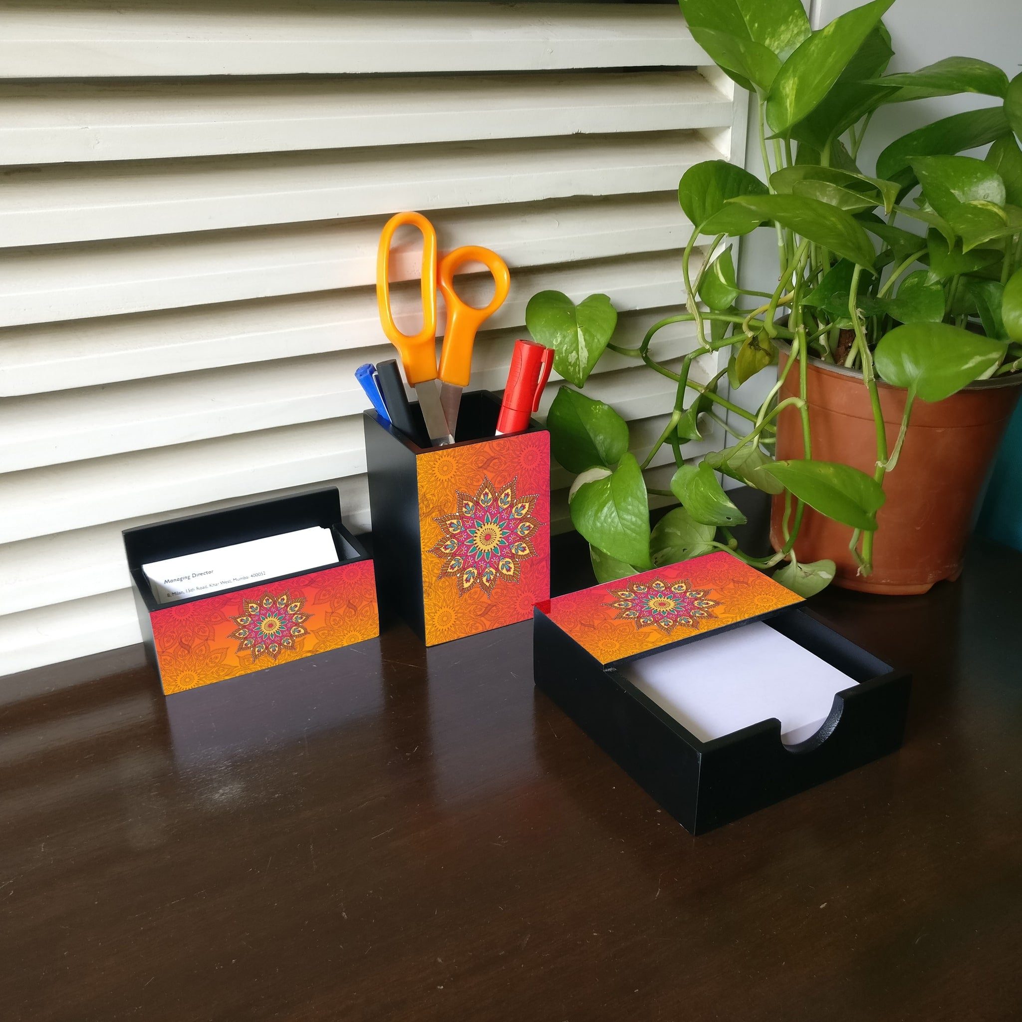 Orange Mandala 3 Piece Desk Organiser