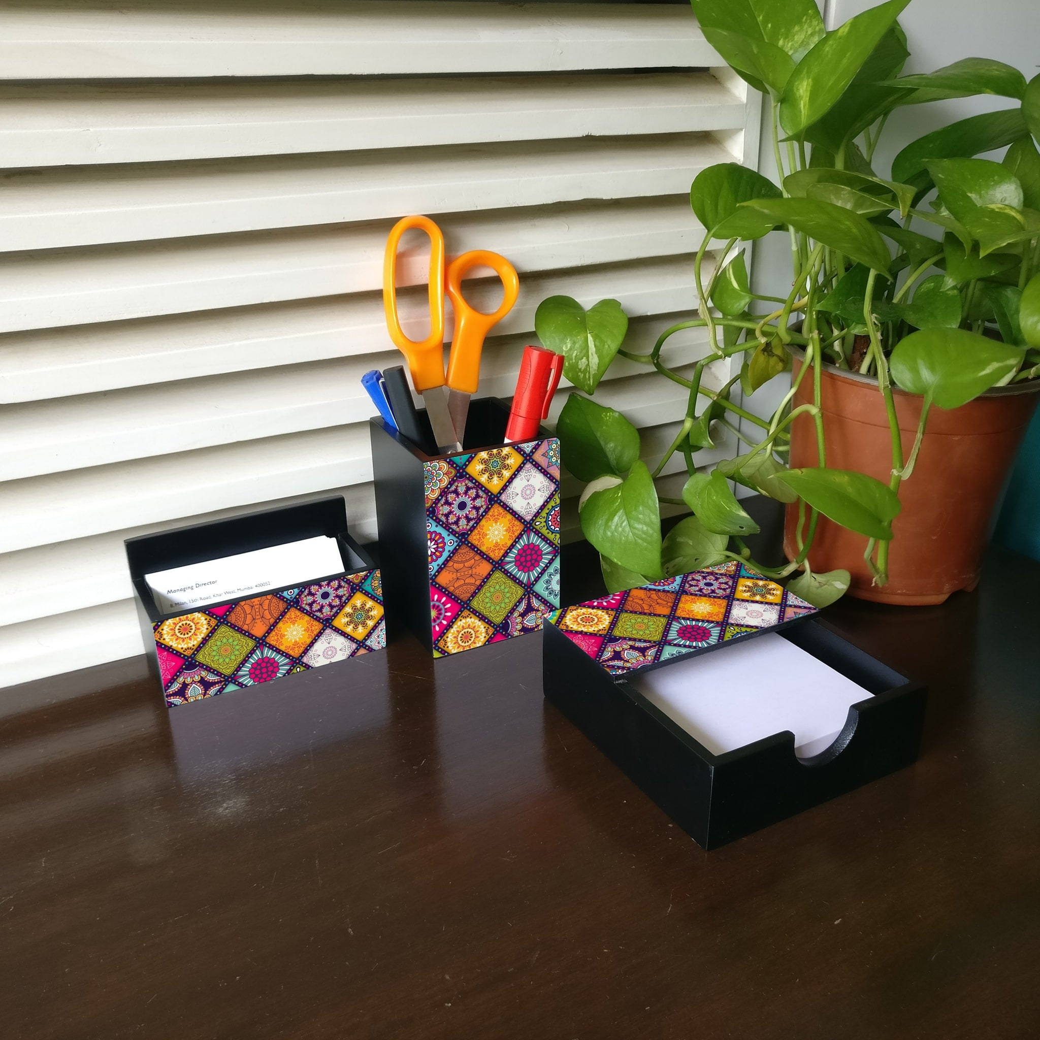 Multi Mandala 3 Piece Desk Organiser
