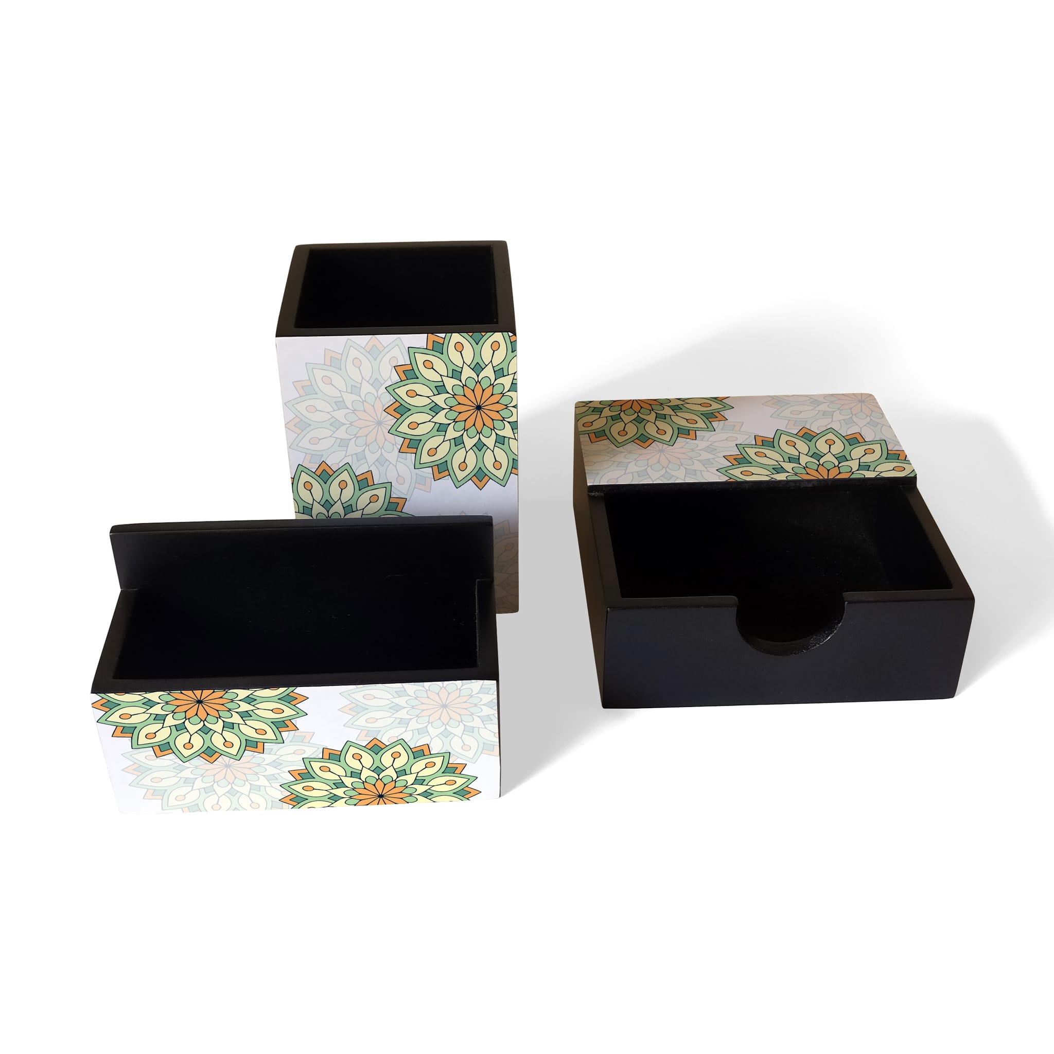 Green Mandala 3 Piece Desk Organiser
