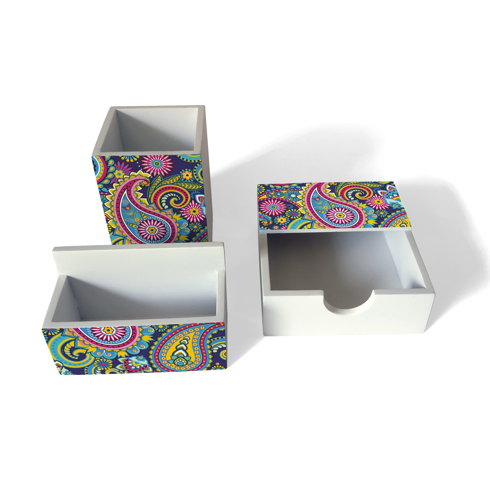 Blue Paisley 3 Piece Desk Organiser