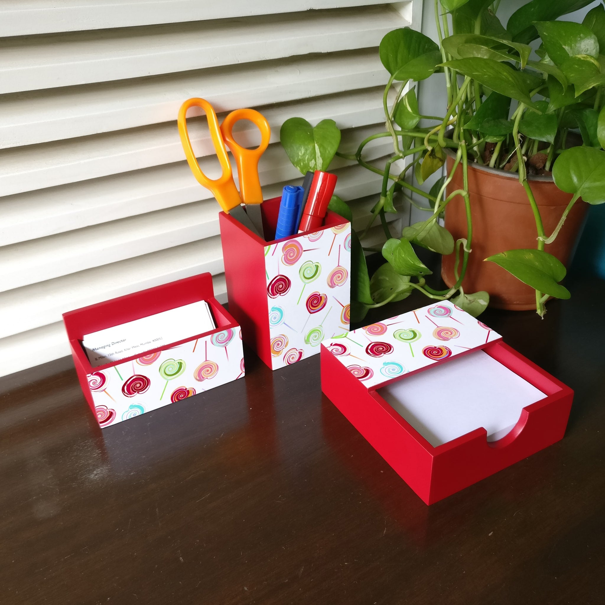 Lollipops 3 Piece Desk Organiser