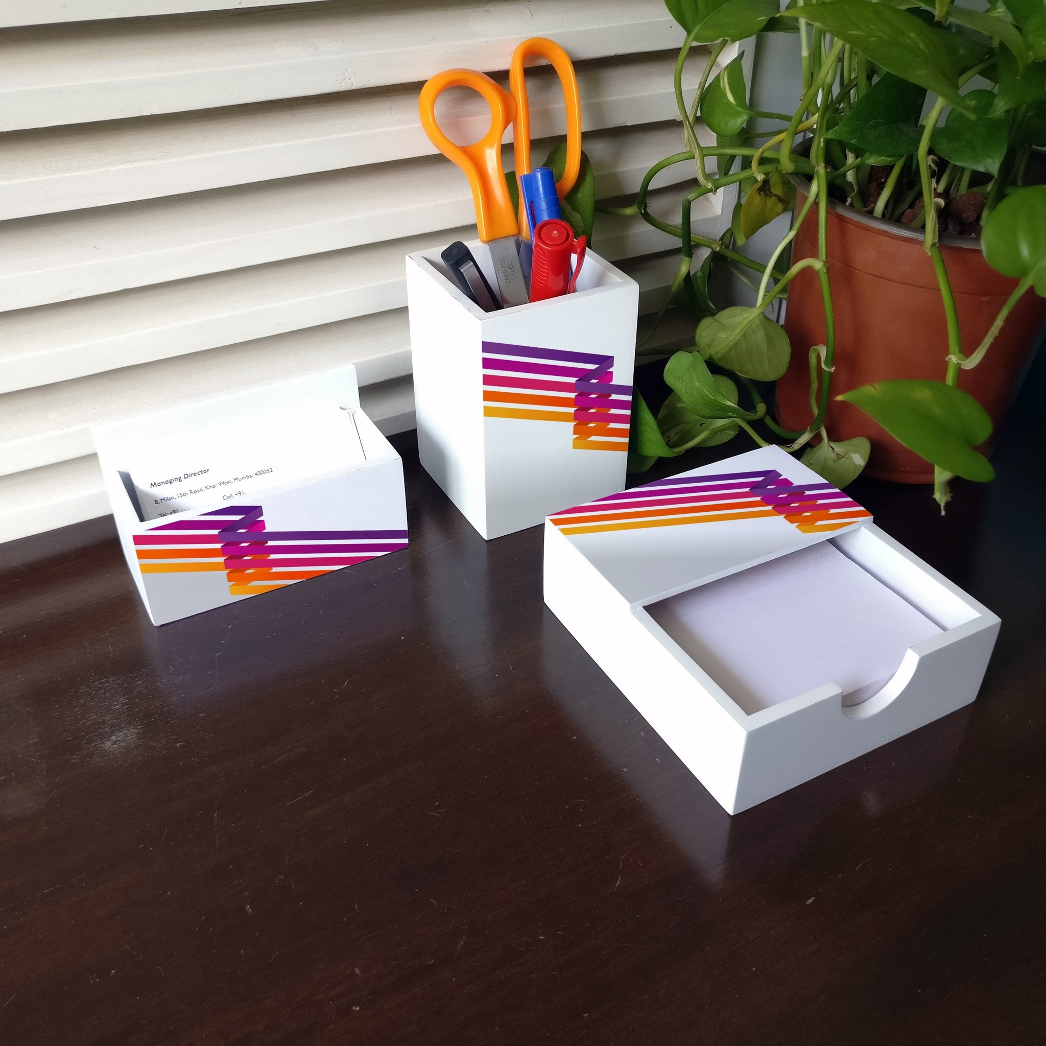 Diagonal Stripes 3 Piece Desk Organiser