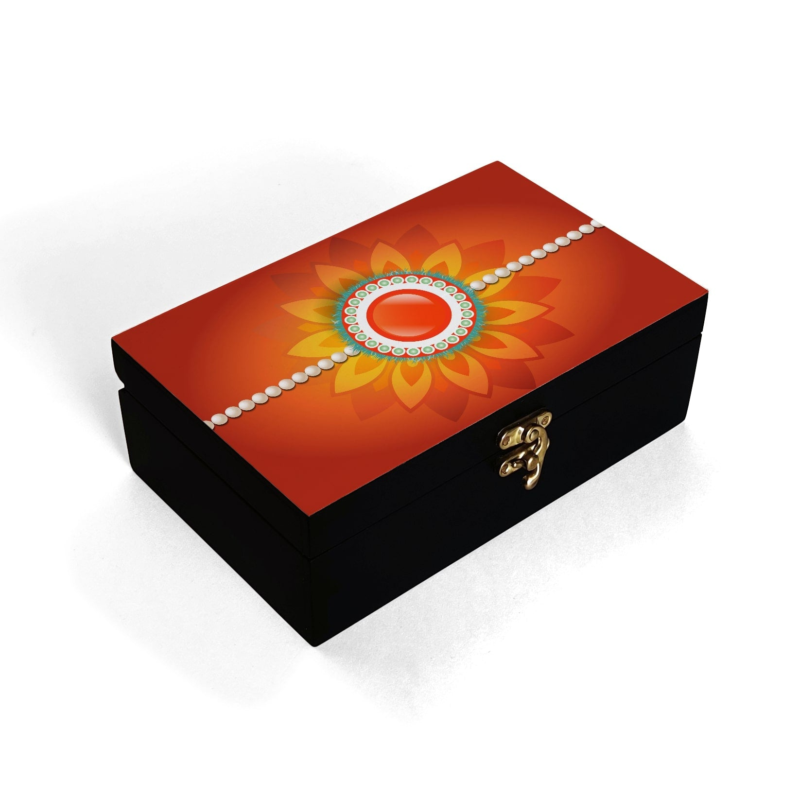 Rakhi Pearls Orange Box Moyen
