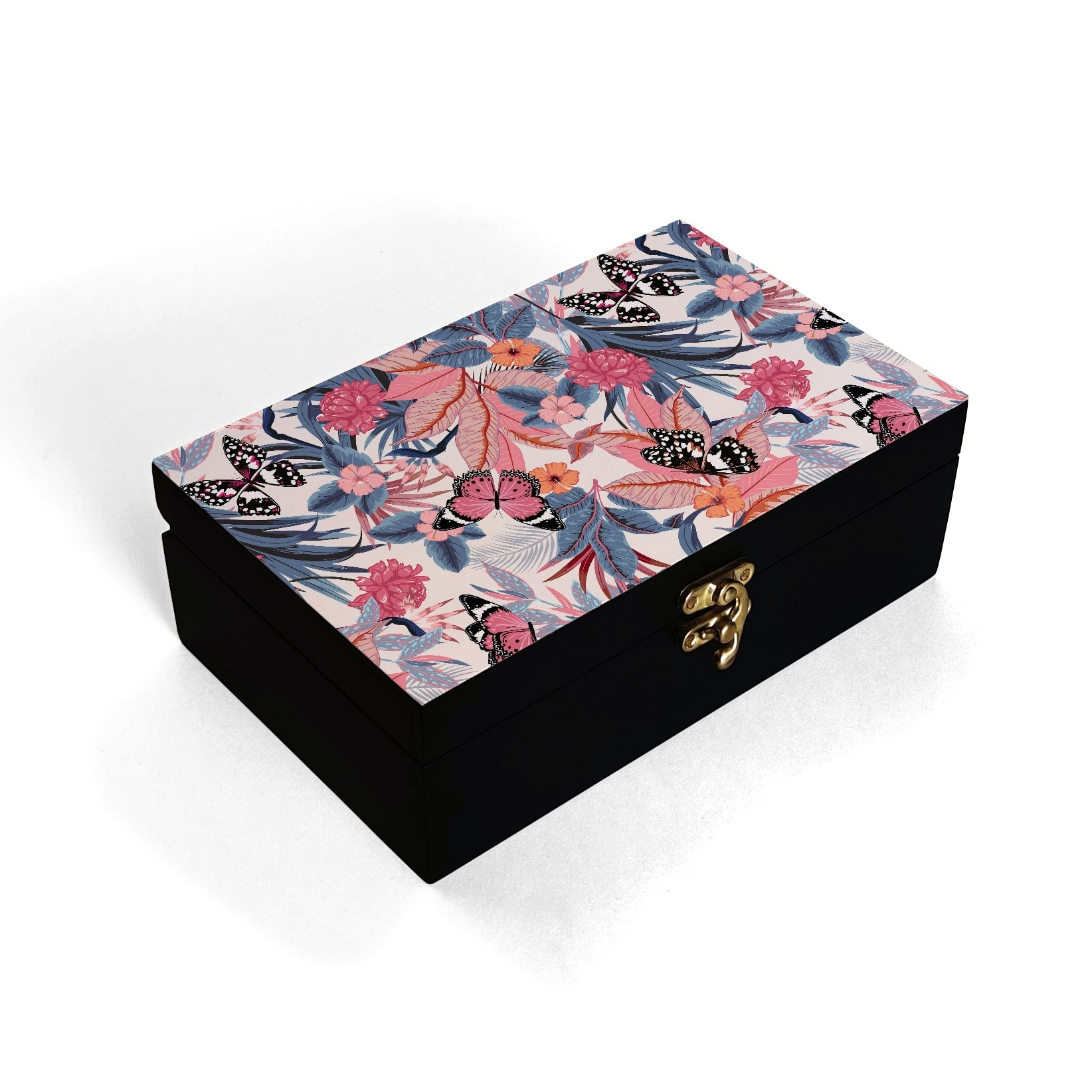Grey Pink Butterflies Box Moyen