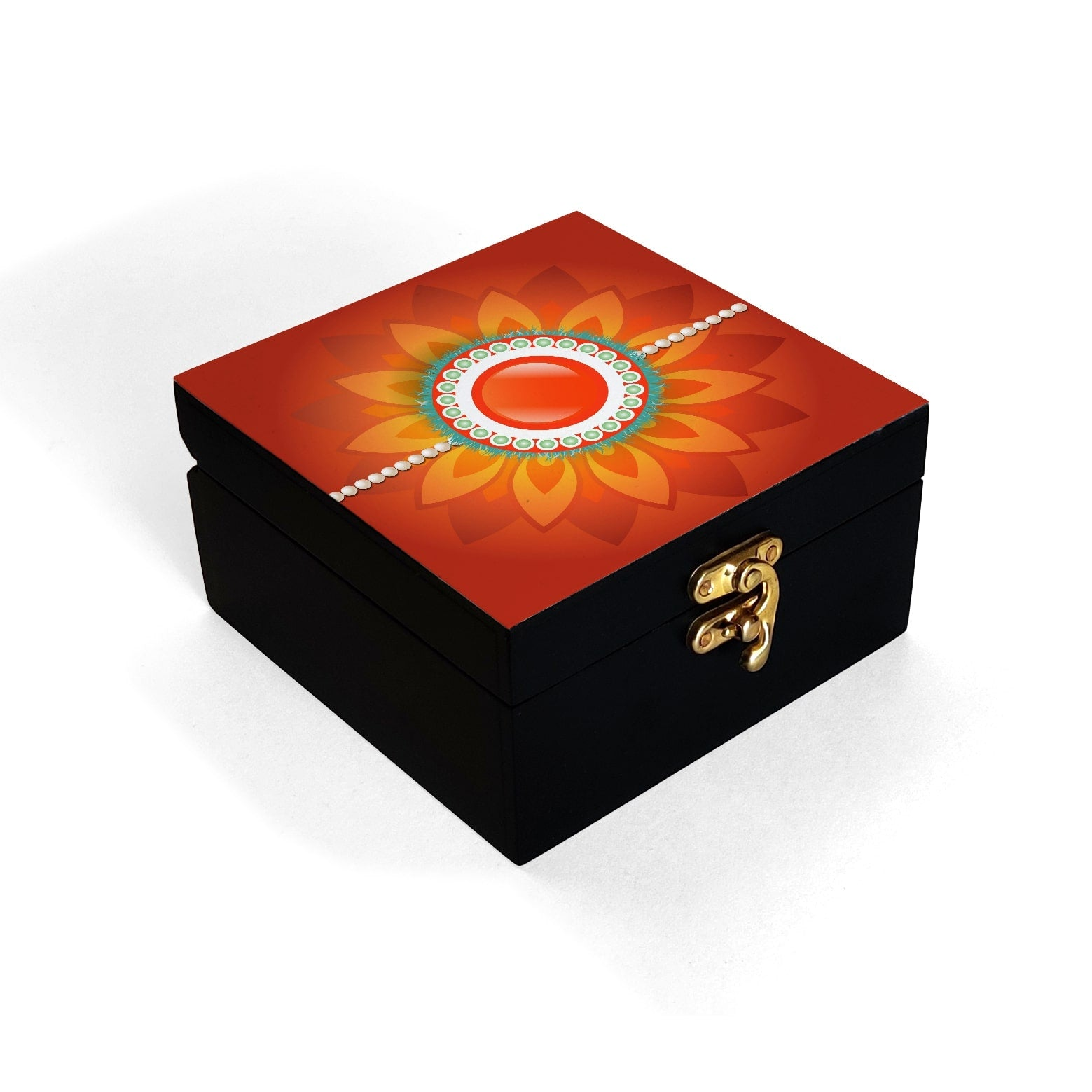 Rakhi Pearls Orange Box Petite
