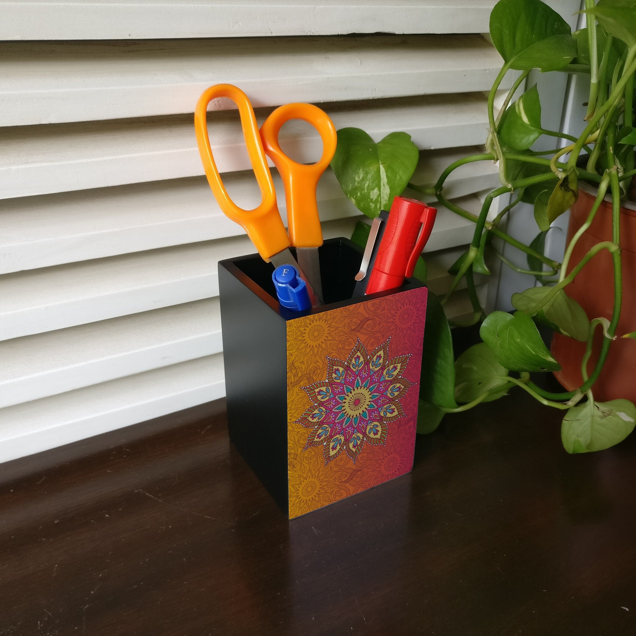 Orange Mandala Pen Stand