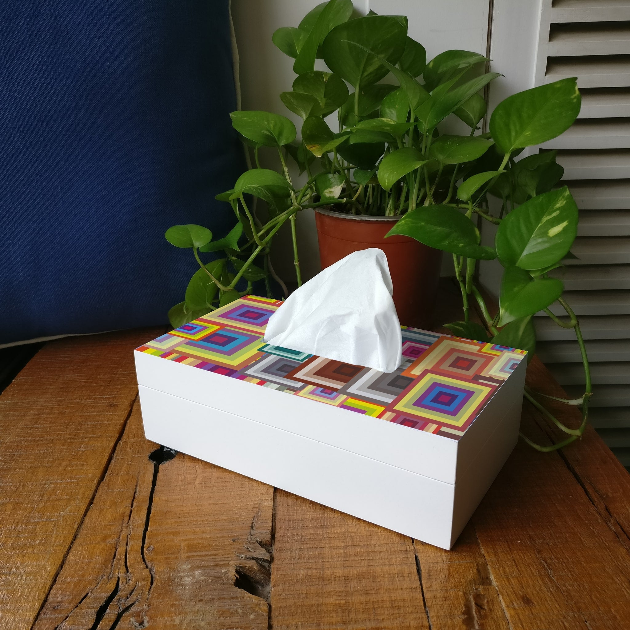 Colourful Squares Tissue Box