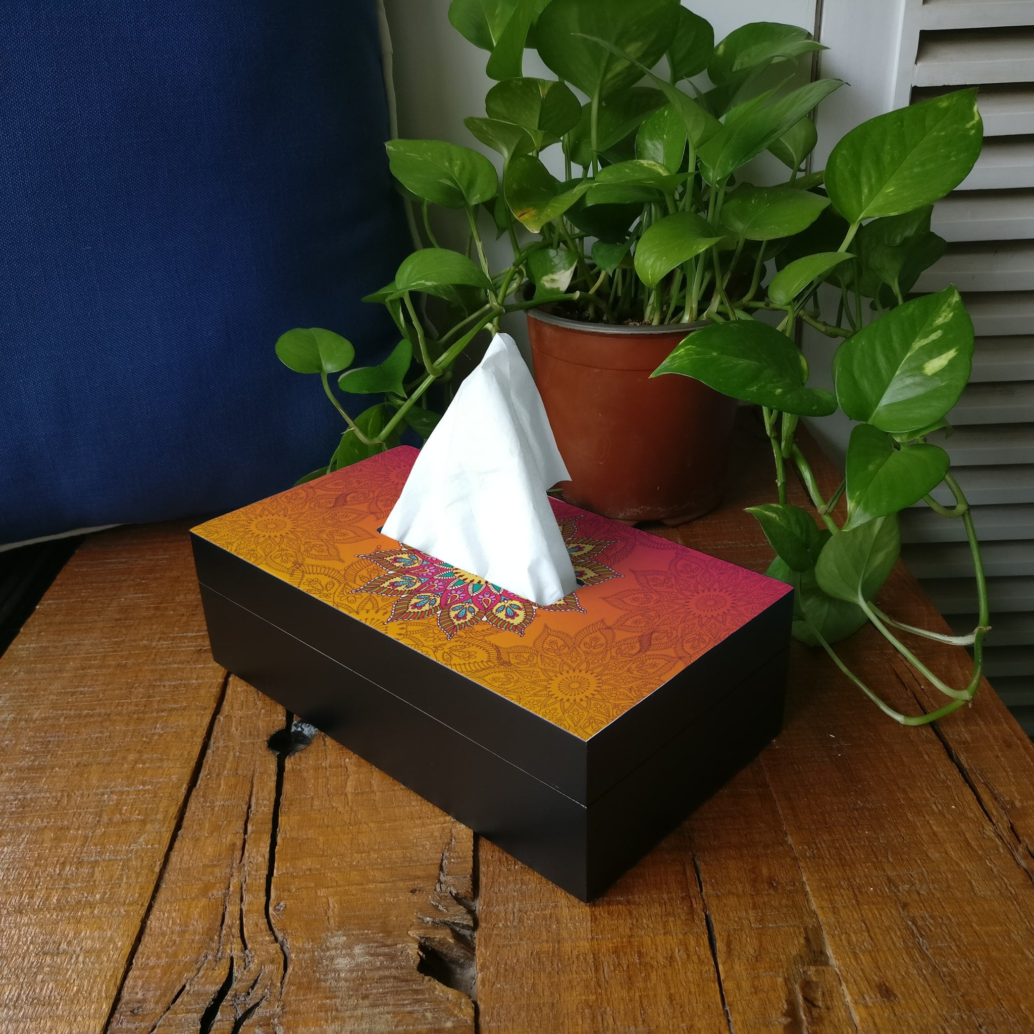 Orange Mandala Tissue Box