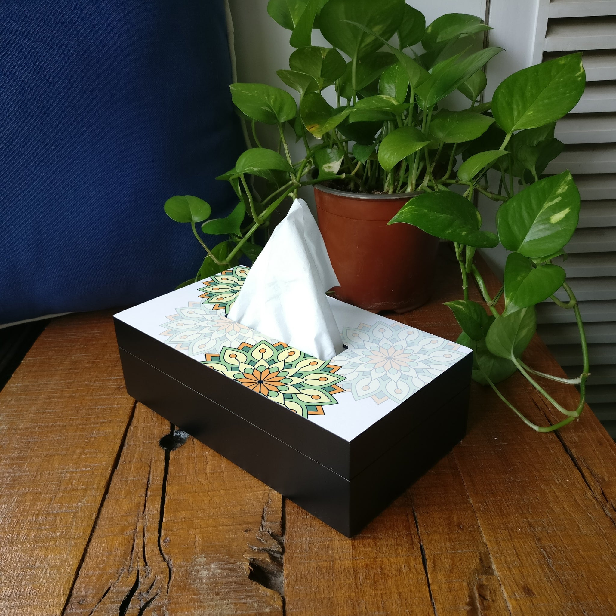 Green Mandala Tissue Box