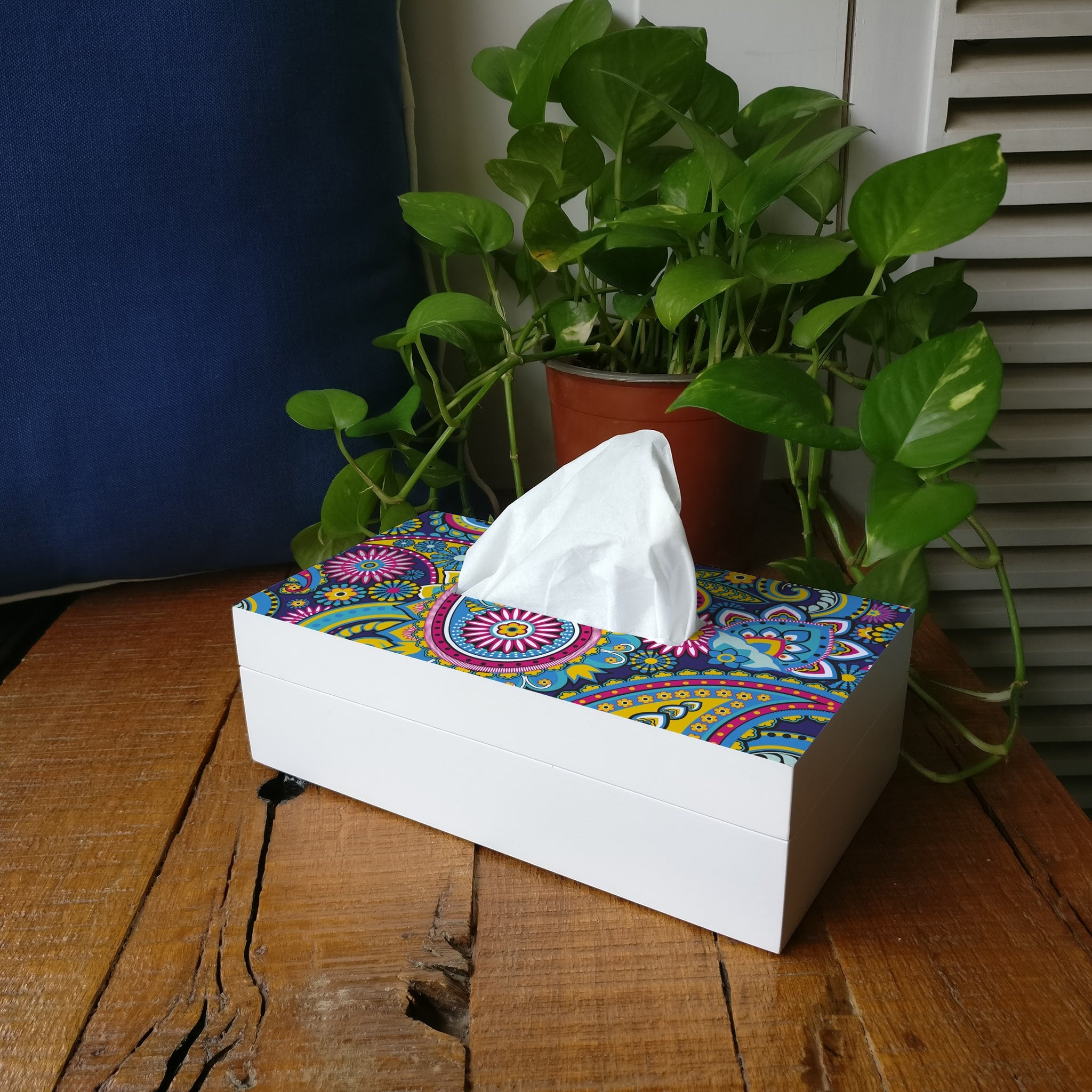 Blue Paisley Tissue Box