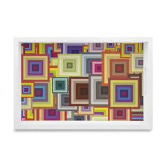 "Colourful Squares Serving Tray with Cutout Handles (Wood) 8""x12"""