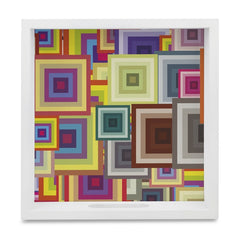 "Colourful Squares Serving Tray with Cutout Handles (Wood) 9""x 9"""