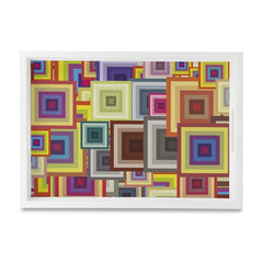 "Colourful Squares Serving Tray with Cutout Handles (Wood) 10""x14"""