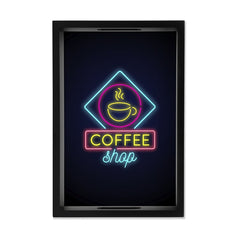 "Neon Coffee Serving Tray with Cutout Handles (Wood) 8""x12"""