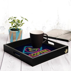 "Neon Coffee Serving Tray with Cutout Handles (Wood) 12""x12"""