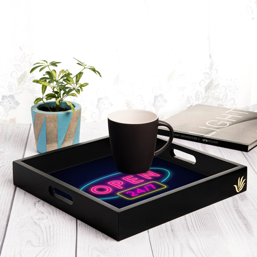 "Neon Open 247 Serving Tray with Cutout Handles (Wood) 12""x12"""