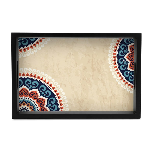 "Mandala Vintage Serving Tray with Cutout Handles (Wood) 8""x12"""