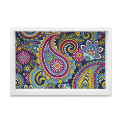 "Blue Paisley Serving Tray with Cutout Handles (Wood) 8""x12"""